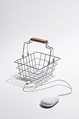 Computer mouse connected to shopping basket for online shopping - p301m730911f by Larry Washburn