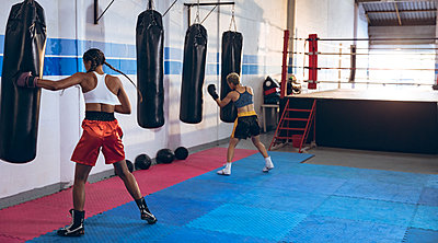Female boxers practicing boxing in boxing club - p1315m2130481 by Wavebreak