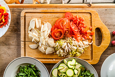 Different sliced vegetables prepared for salad - p300m1052904f by Tom Chance