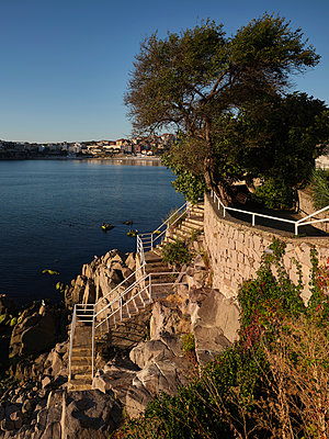 Bulgaria, Stone staircase by the sea - p390m2215602 by Frank Herfort