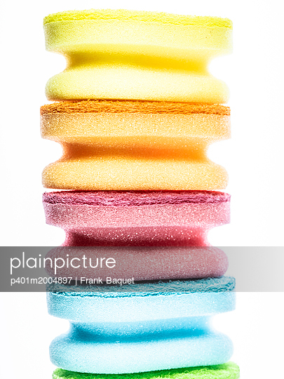 Stack of cleaning sponges - p401m2004897 by Frank Baquet