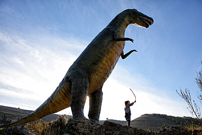 Replica of dinosaur in the village of La Virgen del Campo, La Rioja, Spain, Europe, - p343m1168270 by David Santiago Garcia