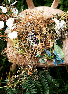 Dried flowers on wooden chair in ferns;  Isle of Wight hillside;  UK - p349m920039 by Rachel Whiting