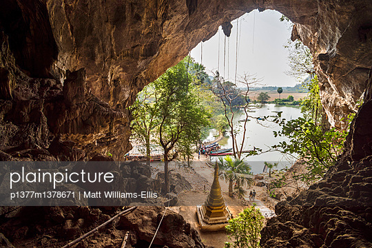 Lake at Sadan Cave at Hpa An - p1377m1378671 by Matt Williams-Ellis