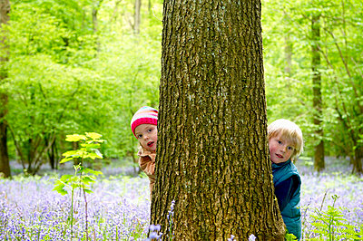Kids hiding behind a tree - p4296646f by Ghislain & Marie David de Lossy