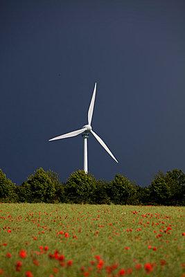 Windrad vor Gewitterwand - p1059m813841 von Philipp Reiss
