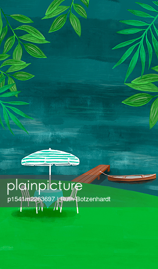 Illustration, Garden idyll - p1541m2263697 by Ruth Botzenhardt