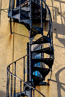 Old metal spiral staircase - p1228m1123743 by Benjamin Harte