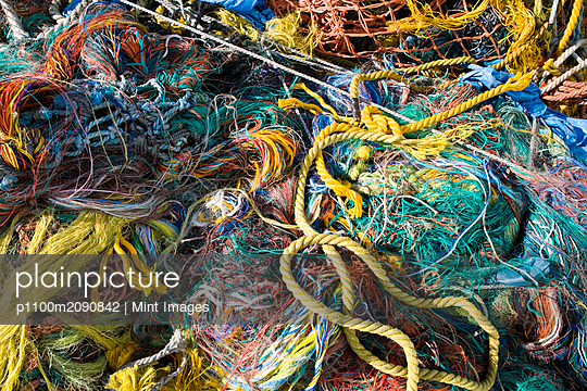 Pile of Fishing Nets, Fisherman's Terminal, Seattle, WA - p1100m2090842 by Mint Images