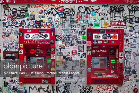 Cash machines and many stickers, Hamburg - p229m2196483 by Martin Langer
