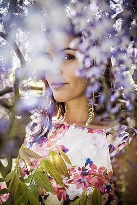 Blick durch Blütenstrauch - p045m2038686 von Jasmin Sander