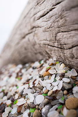 Sea glass on Glass Beach, Fort Bragg, Mendocino County, California, USA - p343m1485361 by Cate Brown