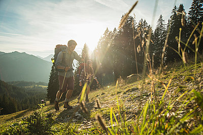 Austria, Tyrol, Tannheimer Tal, young couple hiking in sunlight on alpine meadow - p300m981401f by Uwe Umstätter