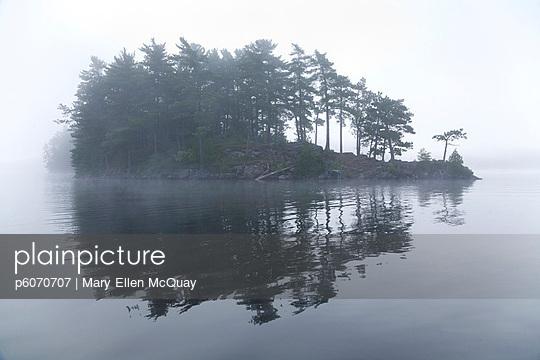 Island in morning mist, Algonquin Park, Ontario - p6070707 by Mary Ellen McQuay