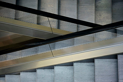 High angle view of escalators - p3013493f by Marc Volk