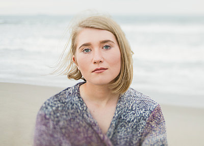 Portrait at Beach - p1503m2015842 by Deb Schwedhelm
