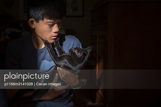 Asian Chinese boy holds black cat who touches the boy's face with paws - p1166m2141028 by Cavan Images