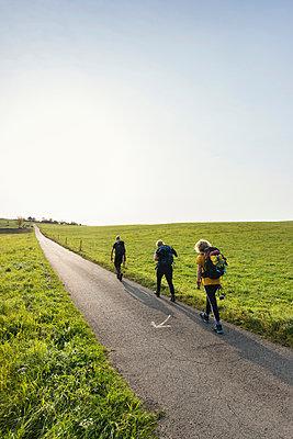 Family hiking together, Meerfeld, Rheinland-Pfalz, Germany - p429m1514008 by Mischa Keijser