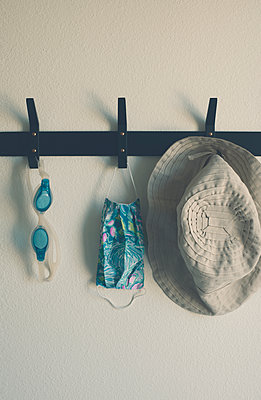 Coat hooks with various items - p1617m2278909 by Barb McKinney