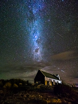 New Zealand, South Island, Canterbury Region, Church of the Good Shepherd at night - p300m2013044 by Stefan Schurr