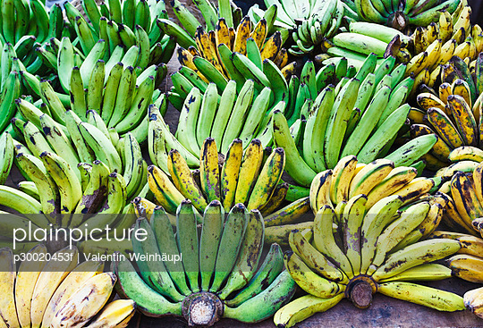 Bananas in fruit stall at market