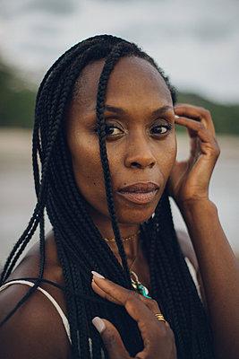 color portrait of a beauty black woman - p1166m2280340 by Cavan Images