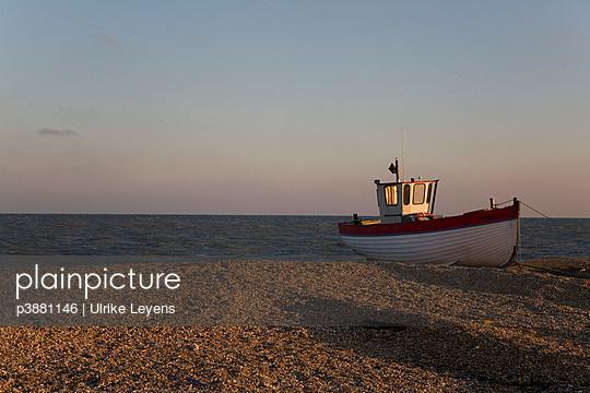 Fishing boat on beach - p3881146 by Ulrike Leyens