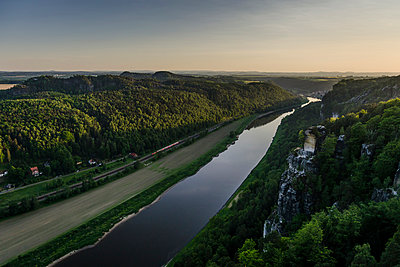 Germany, Saxony, Saxon Switzerland, View from the Bastei, Elbe river - p300m965578f by Andreas Pacek