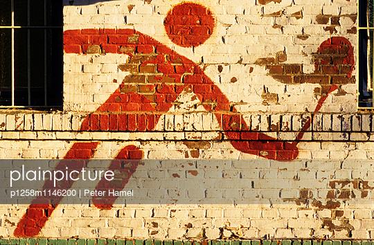 Wandmalerei: Tennis - p1258m1146200 von Peter Hamel