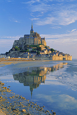 Mont St. Michel (Mont Saint-Michel) reflected in water, Manche, Normandy, France, Europe - p8710639 by Ruth Tomlinson