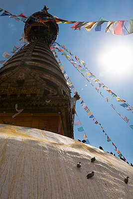 Prayer flags on temple tower - p42918157 by Elli Thor Magnusson