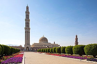 Middle East, Oman.  The Minarets and dome of The Sultan Qaboos Grand Mosque, Ghubra - p652m1576200 by John Warburton-Lee