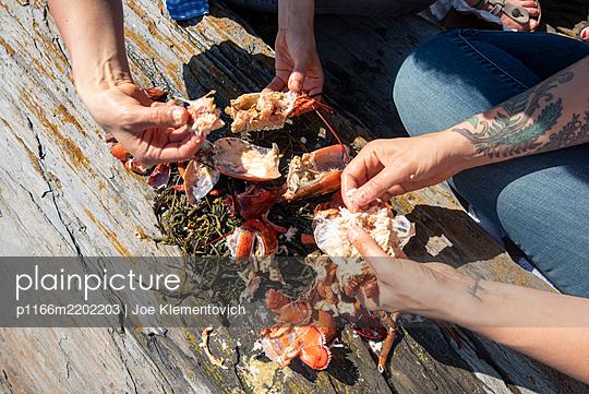 two people breaking apart lobsters on a rock - p1166m2202203 by Joe Klementovich