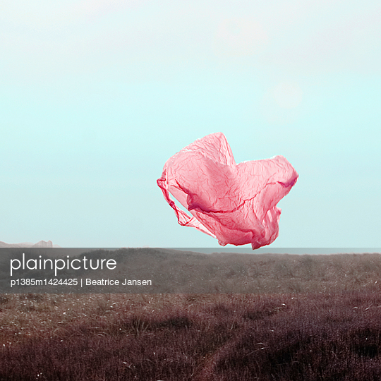 Plastic bag in the wind - p1385m1424425 by Beatrice Jansen