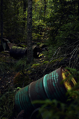 Sweden, Old oil barrels in the forest - p1573m2244352 by Christian Bendel