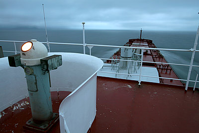 Flying bridge of ocean-going ship - p555m1480093 by Tom Paiva Photography