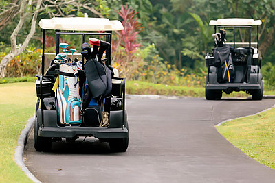 Golf carts on golf course in Bali - p1108m1441023 by trubavin