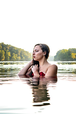 Bathing Beauty in Potomac River - p1019m2111191 by Stephen Carroll