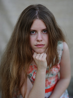 Portrait of a girl with long light brown hair - p1412m1573702 by Svetlana Shemeleva