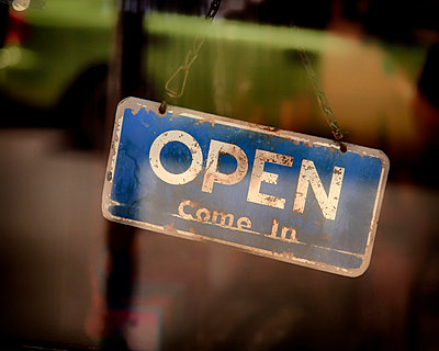 Vintage open sign - p1154m1425744 by Tom Hogan