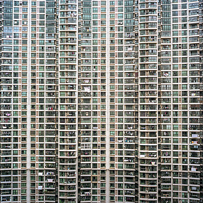 Facade of a gigantic housing project in downtown Shanghai, China. - p855m1219716 by Tim Franco