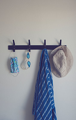 Coat hooks with various items - p1617m2278910 by Barb McKinney