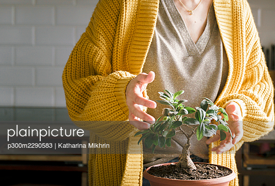 Woman in yellow sweater with potted plant at home - p300m2290583 by Katharina Mikhrin
