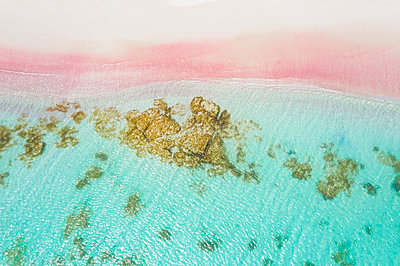 Waves of turquoise sea crashing into pink sand beach from drone above, Caribbean, Antilles, West Indies, Caribbean - p871m2143250 by Roberto Moiola
