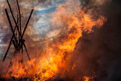 Blazing fire in Schleswig-Holstein, Germany - p301m799561f by Sven Hagolani