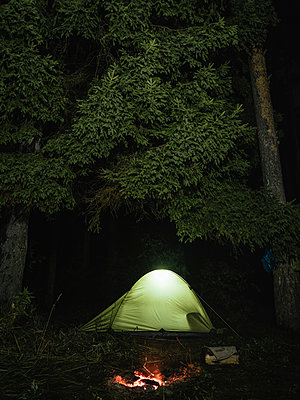 Illuminated tent on field against trees in forest - p1166m2024896 by Cavan Images