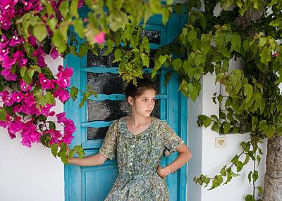 Girl Waiting at Door - p1503m2015906 by Deb Schwedhelm