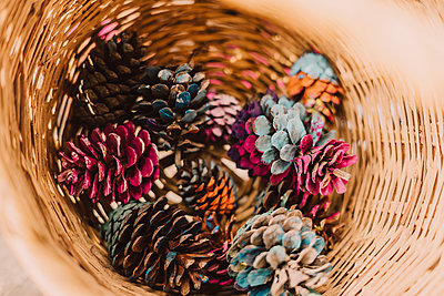 Colorful pine cones in wicker basket at park - p300m2225516 by Eloisa Ramos