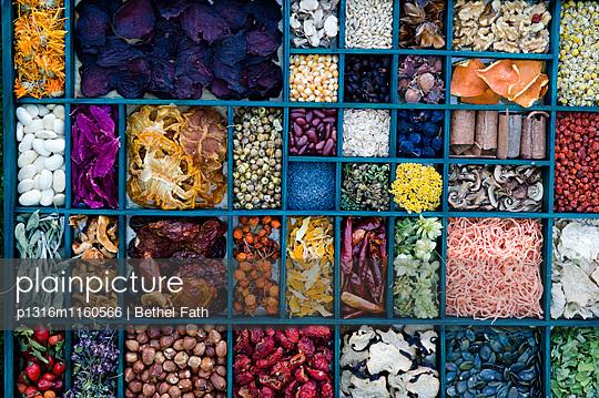 Getrocknete Blüten, Kräuter und Getreide, Dörren, Trocknen, Trockenobst, Selbstgemachtes - p1316m1160566 von Bethel Fath