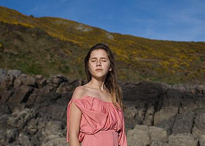 Girl in Pink Dress - p1503m2015936 by Deb Schwedhelm